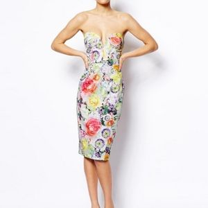 ASOS Floral Strapless Sweetheart Dress